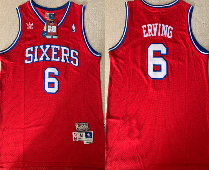 76ers 6 Julius Erving Red Hardwood Classics Jersey