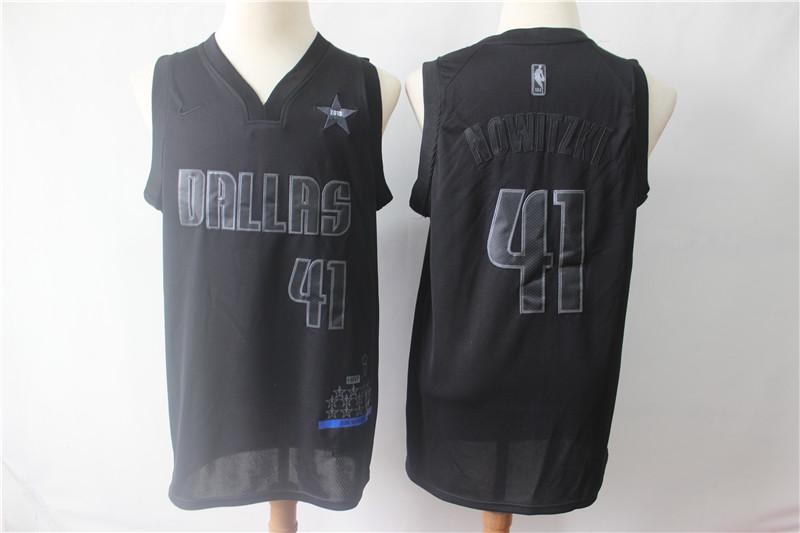 Mavericks 41 Dirk Nowitzki Black Nike Swingman MVP Jersey