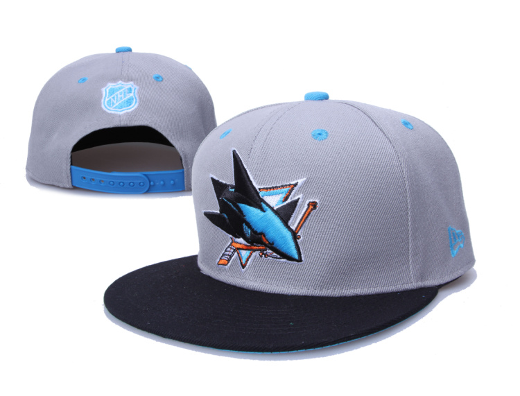Sharks Team Logo Gray Black Adjustable Hat LH