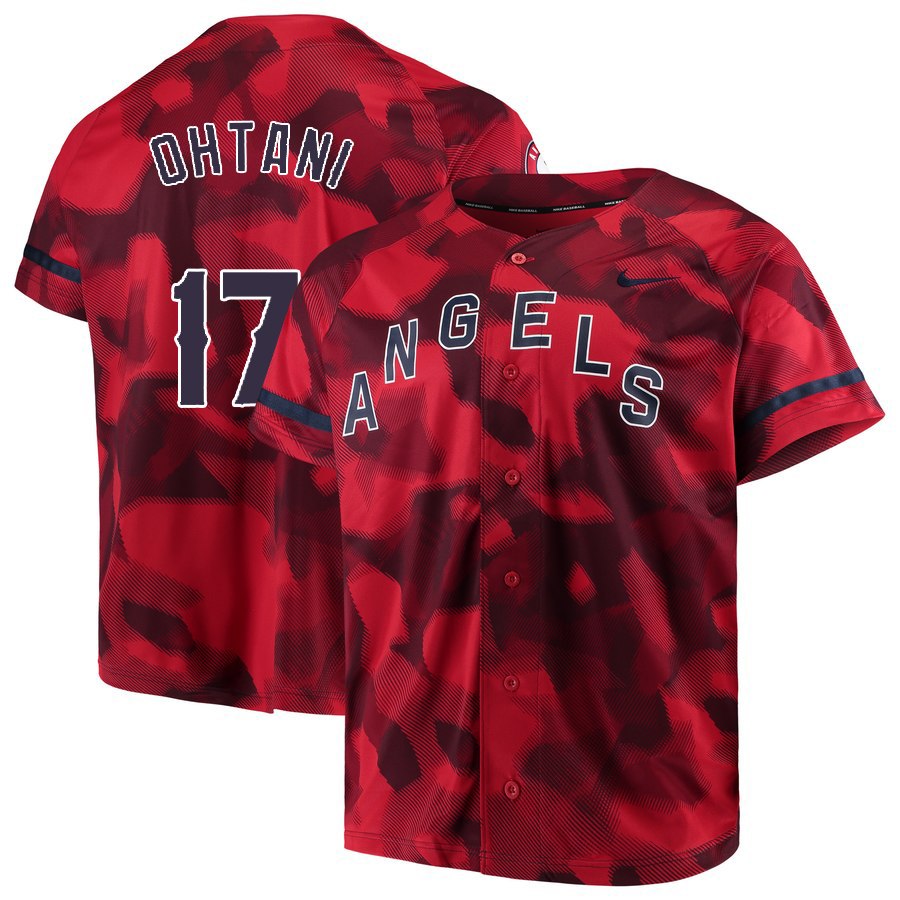 Angels 17 Shohei Ohtani Red Camo Fashion Jersey