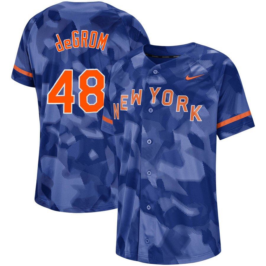 Mets 48 Jacob deGrom Royal Camo Fashion Jersey