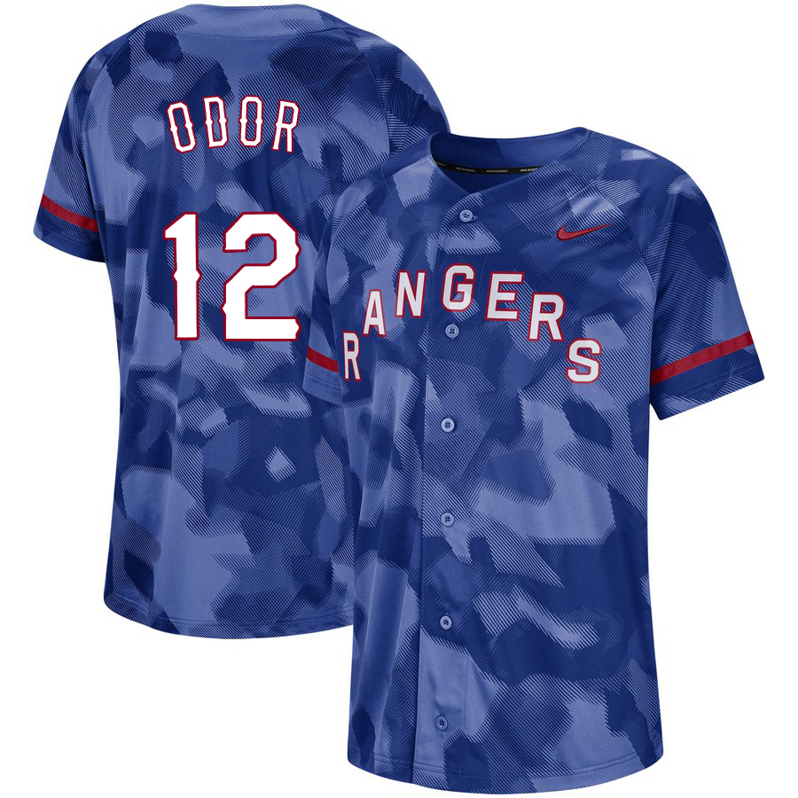 Rangers 12 Rougned Odor Royal Camo Fashion Jersey