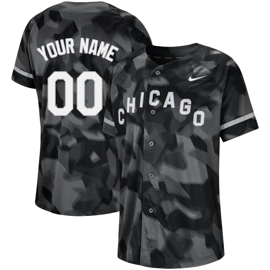 White Sox Black Camo Fashion Men's Customized Jersey