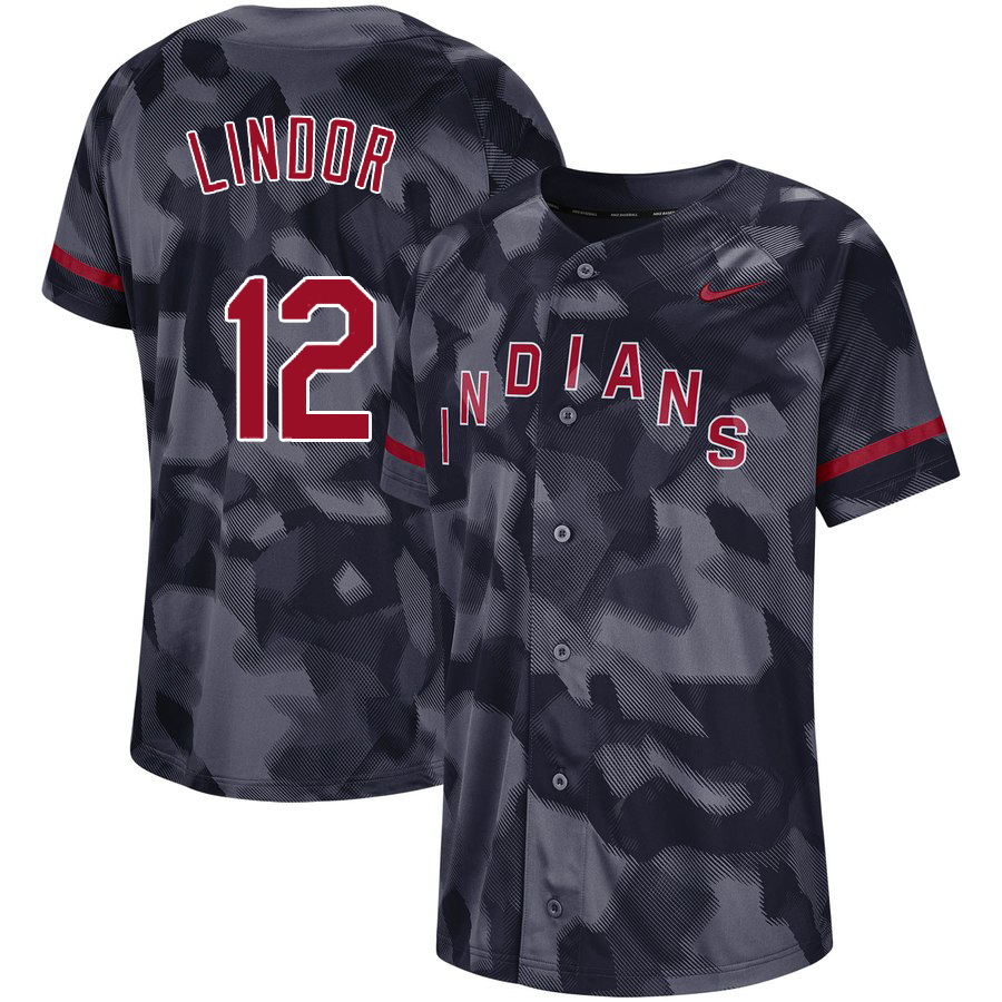 Indians 12 Francisco Lindor Black Camo Fashion Jersey