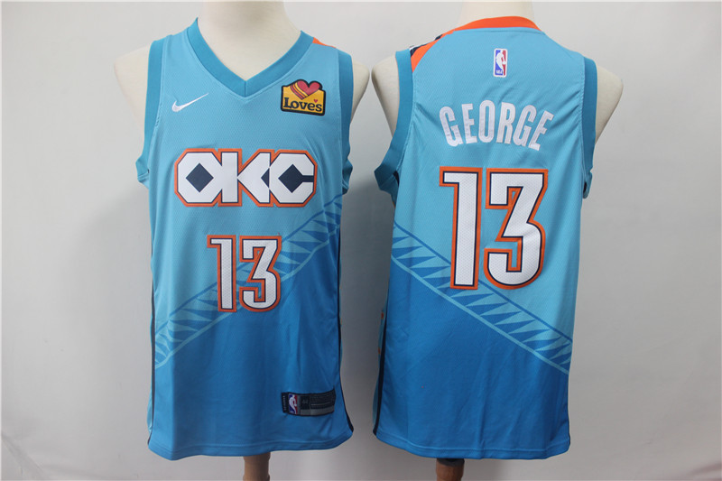 Thunder 13 Paul George Turquoise Light Blue City Edition Nike Swingman Jersey