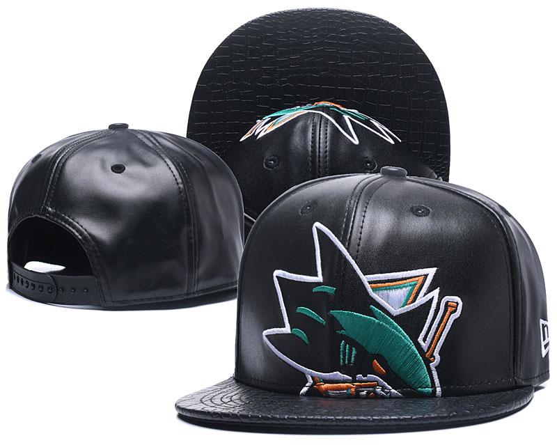 Sharks Team Logo Black Leather Adjustable Hat GS