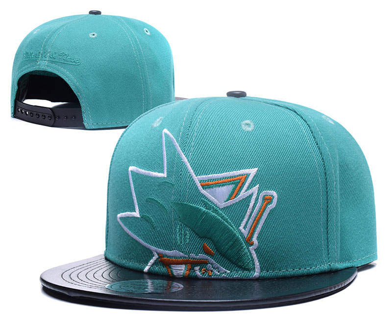 Sharks Team Logo Blue Black Mitchell & Ness Adjustable Hat GS