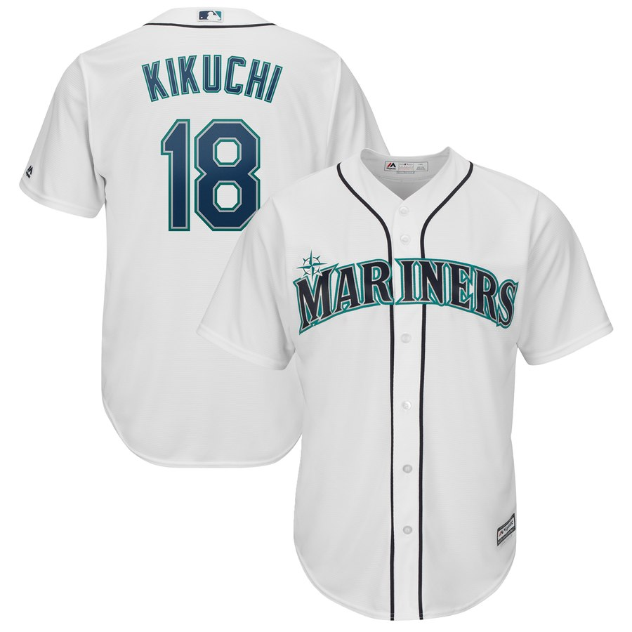 Mariners 18 Yusei Kikuchi White Cool Base Jersey