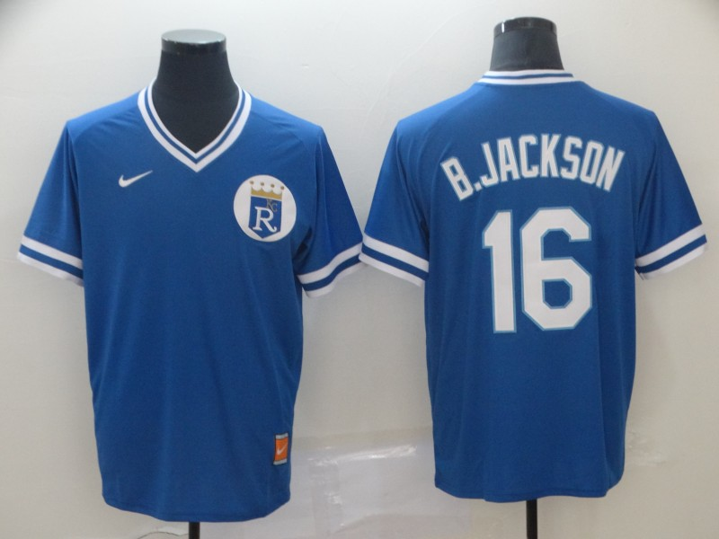 Royals 16 Bo Jackson Blue Throwback Jersey