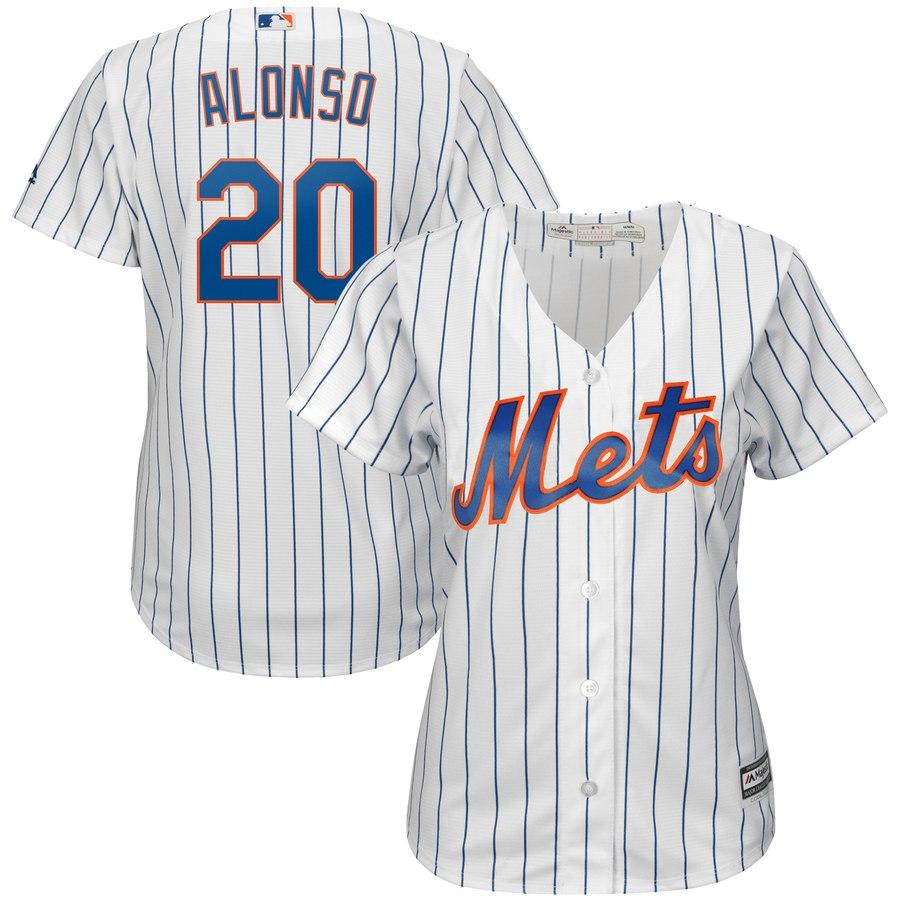 Mets 20 Pete Alonso White Women Cool Base Jersey