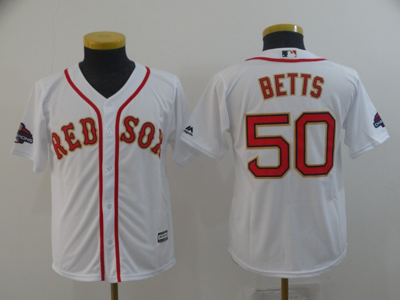 Red Sox 50 Mookie Betts White Youth 2019 Gold Program Cool Base Jersey
