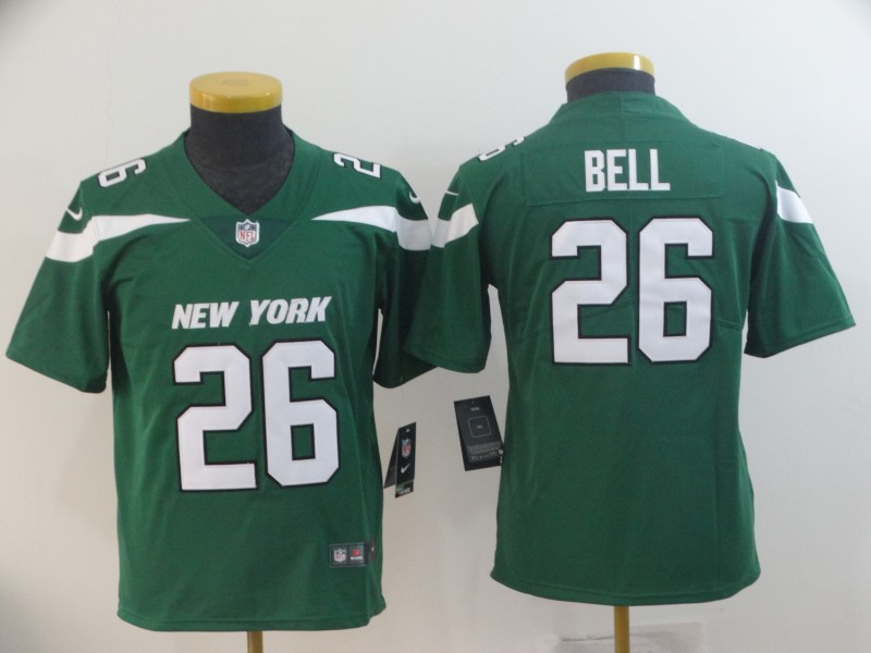 Nike Jets 26 Le'Veon Bell Green Youth New 2019 Vapor Untouchable Limited Jersey