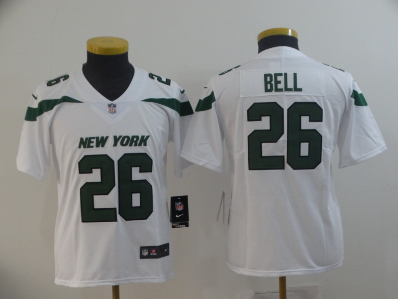 Nike Jets 26 Le'Veon Bell White Youth New 2019 Vapor Untouchable Limited Jersey