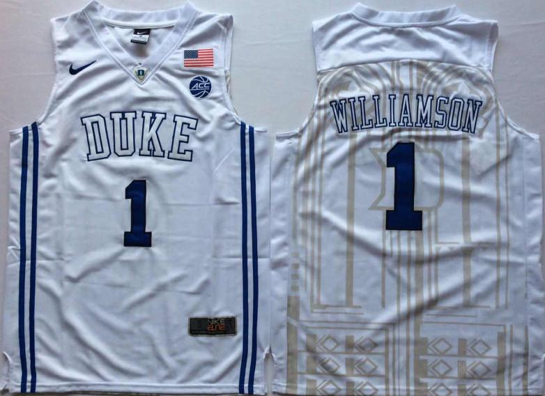 Duke Blue Devils 1 Zion Williamson White Elite Nike College Basketball Jersey
