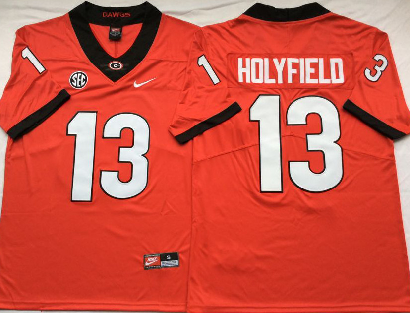 Georgia Bulldogs 13 Elijah Holyfield Red Nike College Football Jersey