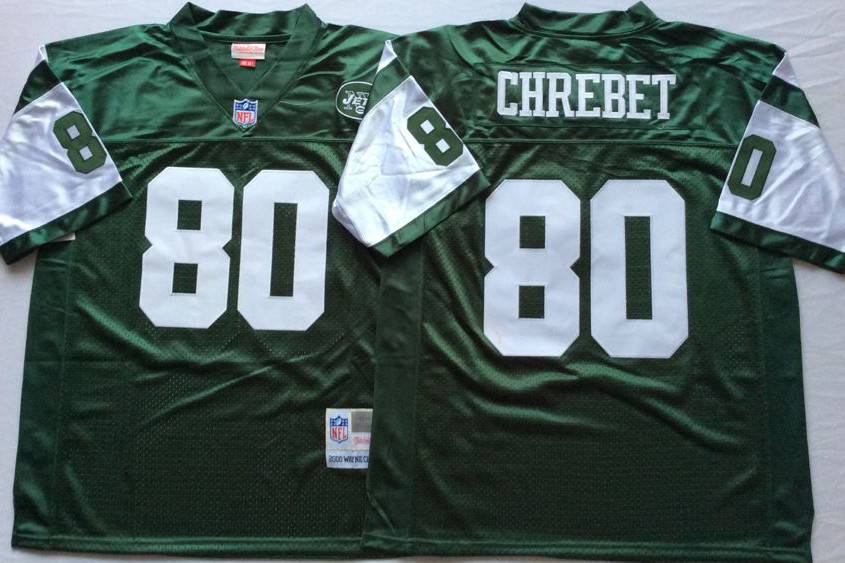 Jets 80 Wayne Chrebet Green M&N Throwback Jersey