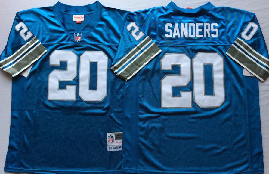 Lions 20 Barry Sanders Blue M&N Throwback Jersey