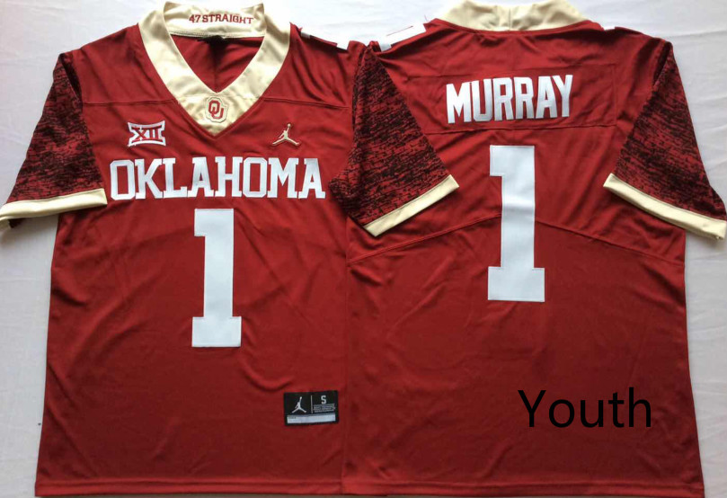 Oklahoma Sooners 1 Kyler Murray Red Youth 47 Game Winning Streak College Football Jersey