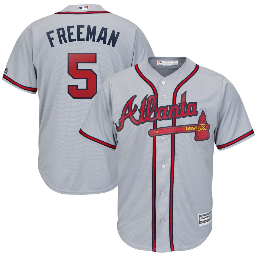 Braves 5 Freddie Freeman Gray Cool Base Jersey