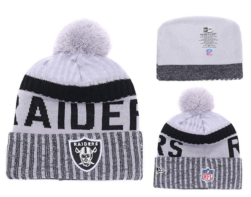 Raiders Team Logo White Black Retro Cuffed Pom Knit Hat YD