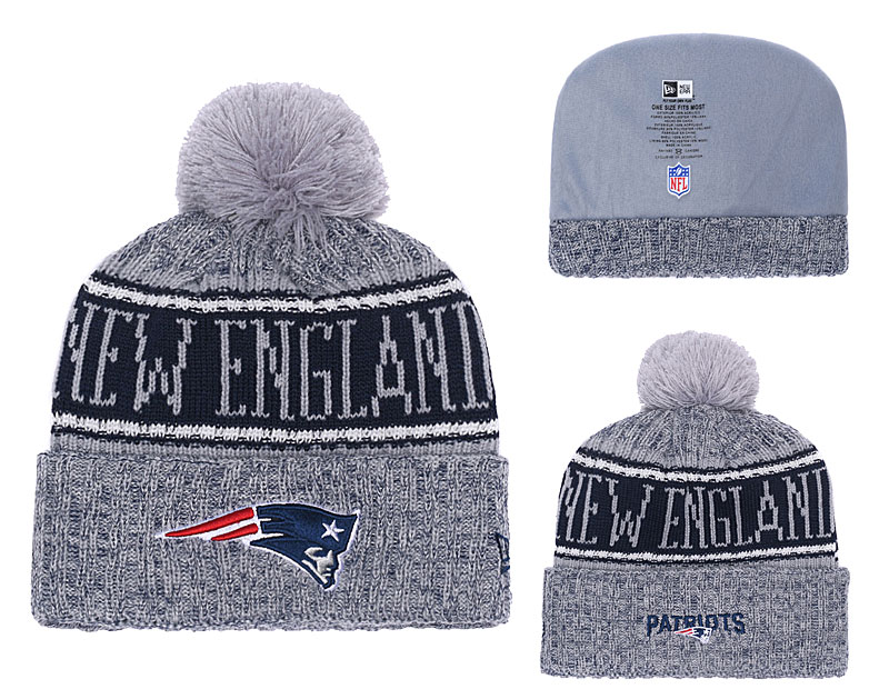 Patriots Gray 2018 NFL Sideline Pom Knit Hat YD