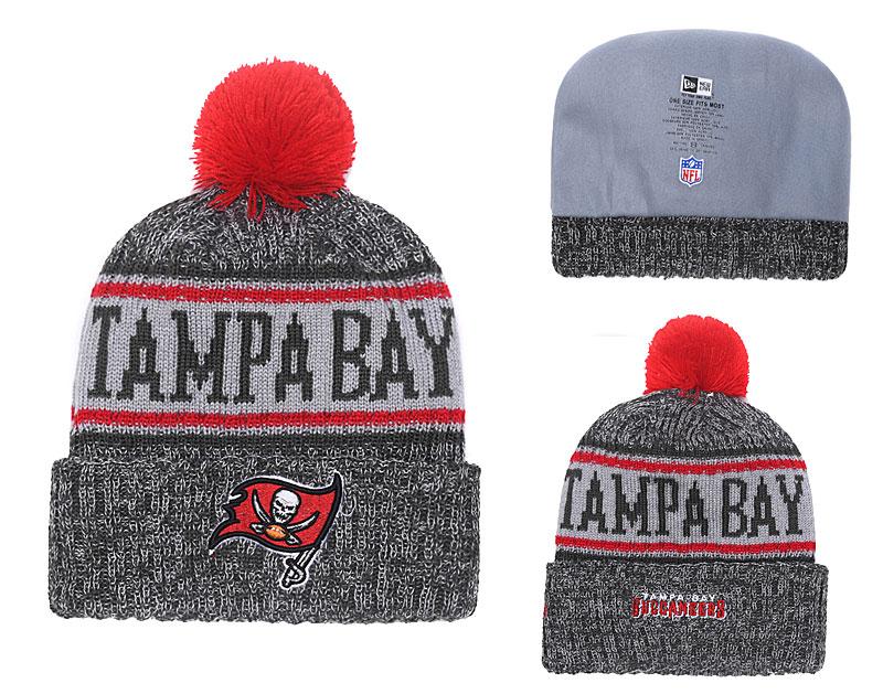 Buccaneers Black 2018 NFL Sideline Pom Knit Hat YD