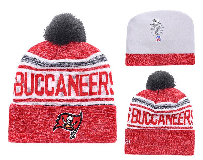 Buccaneers Fresh Logo Red White Pom Knit Hat YD