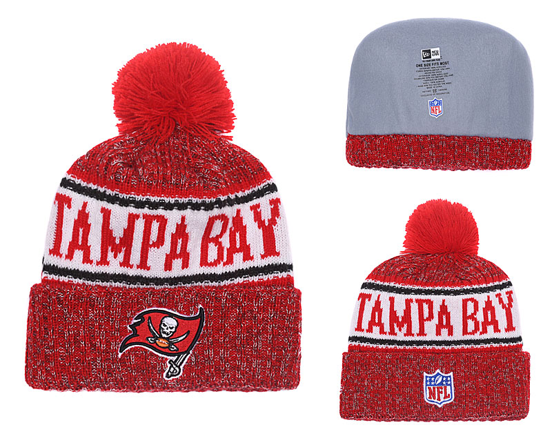 Buccaneers Red 2018 NFL Sideline Pom Knit Hat YD