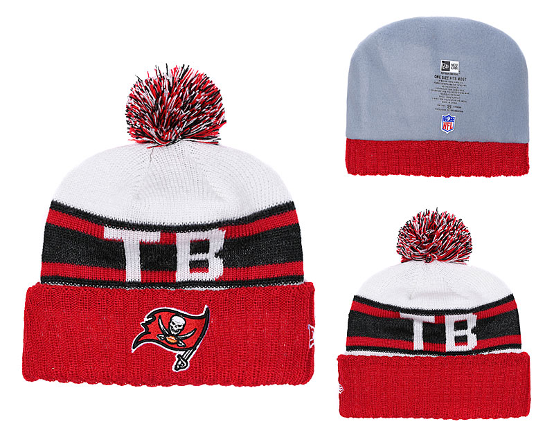 Buccaneers White Red Retro Cuffed Knit Hat With Pom YD