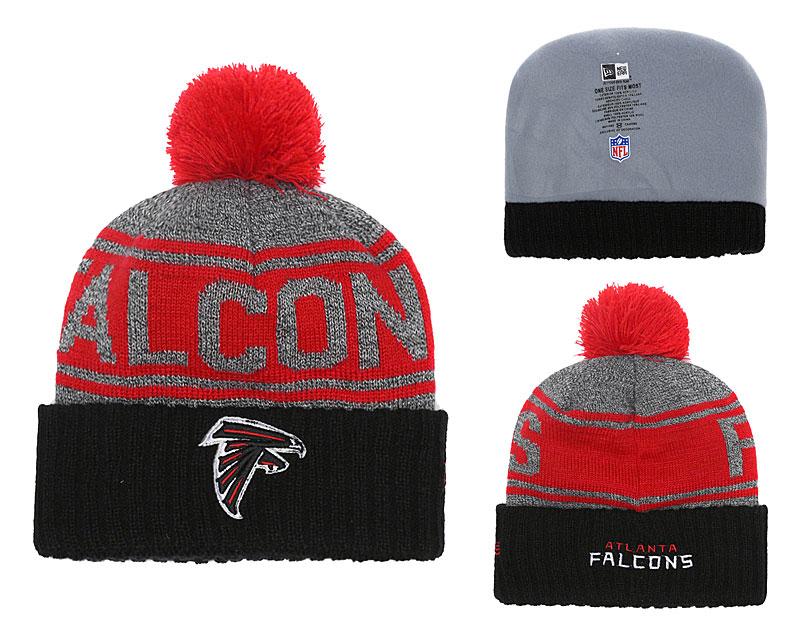 Falcons Team Logo Black Cuffed Knit Hat With Pom YD