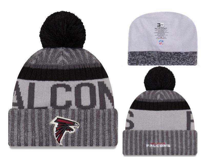 Falcons Team Logo Black Cuffed Pom Knit Hat YD