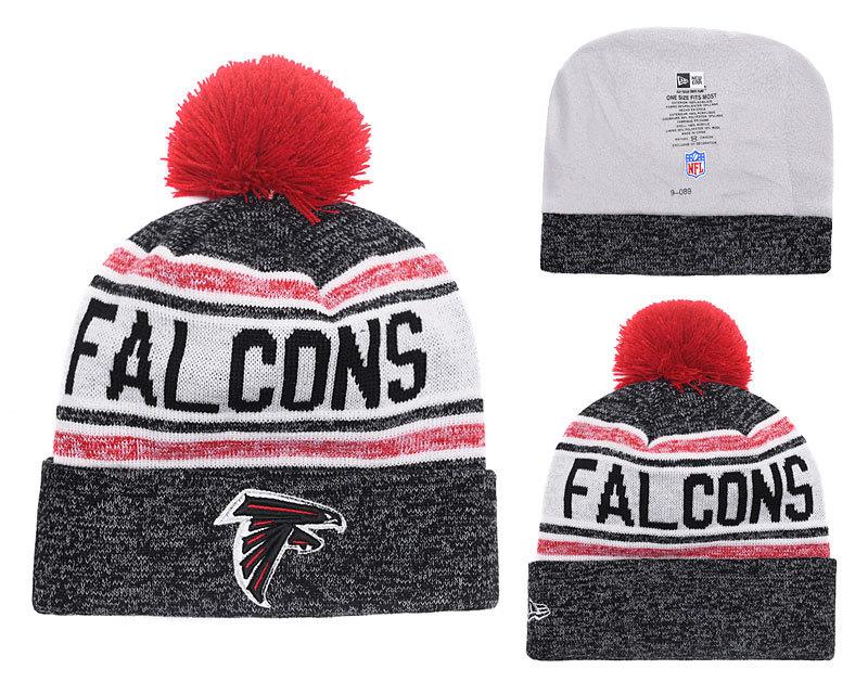 Falcons Team Logo Black Red Cuffed Knit Hat With Pom YD