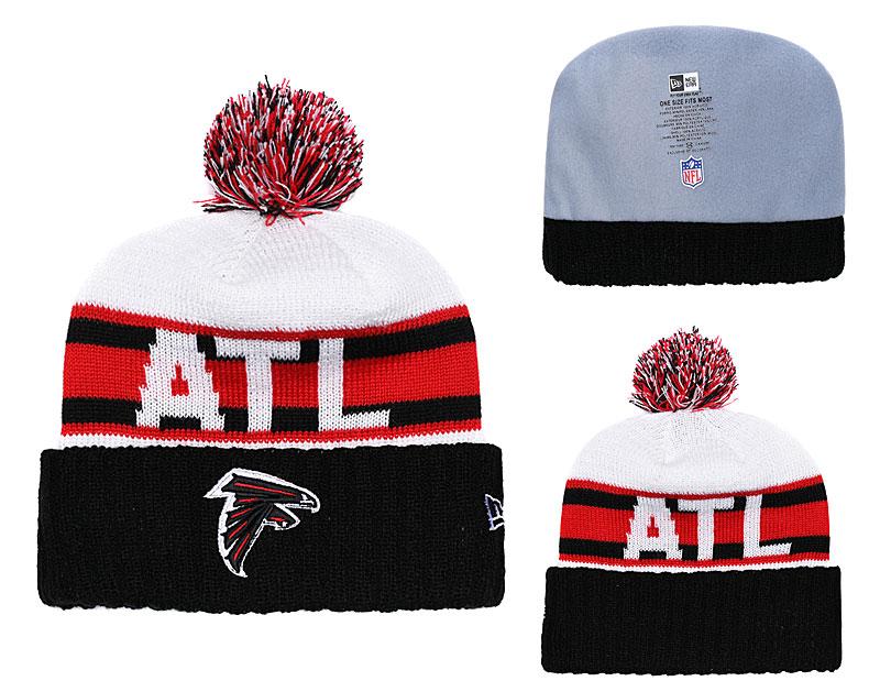 Falcons Team Logo Black Red White Cuffed Pom Knit Hat YD