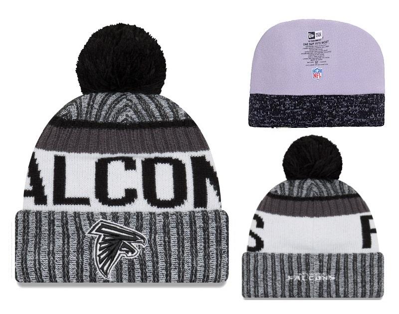 Falcons Team Logo Black With Cuffed Pom Knit Hat YD