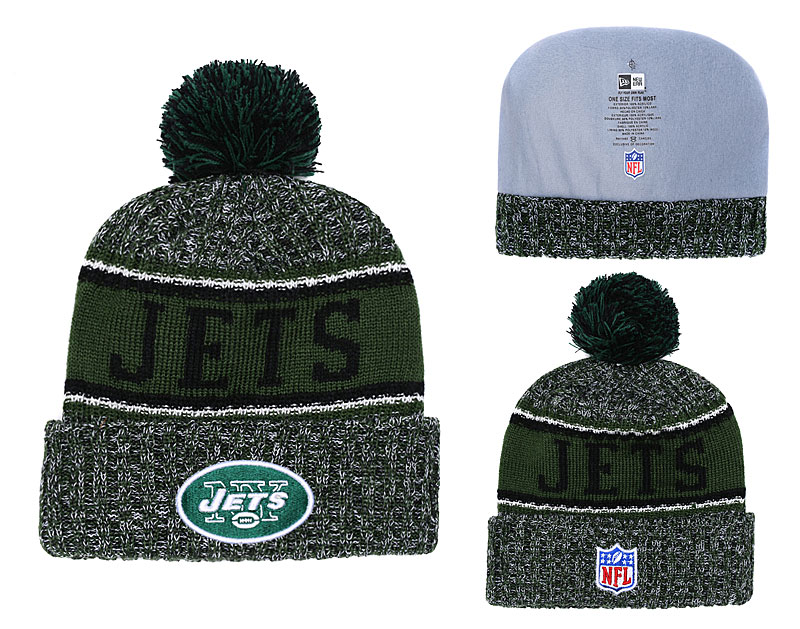 Jets Team Logo Green Pom Knit Hat YD