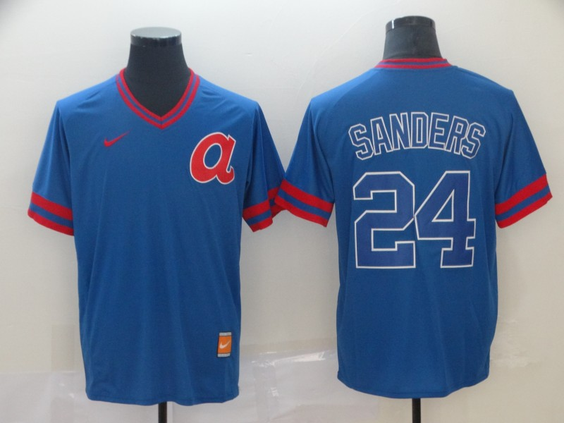 Braves 24 Deion Sanders Blue Throwback Jersey