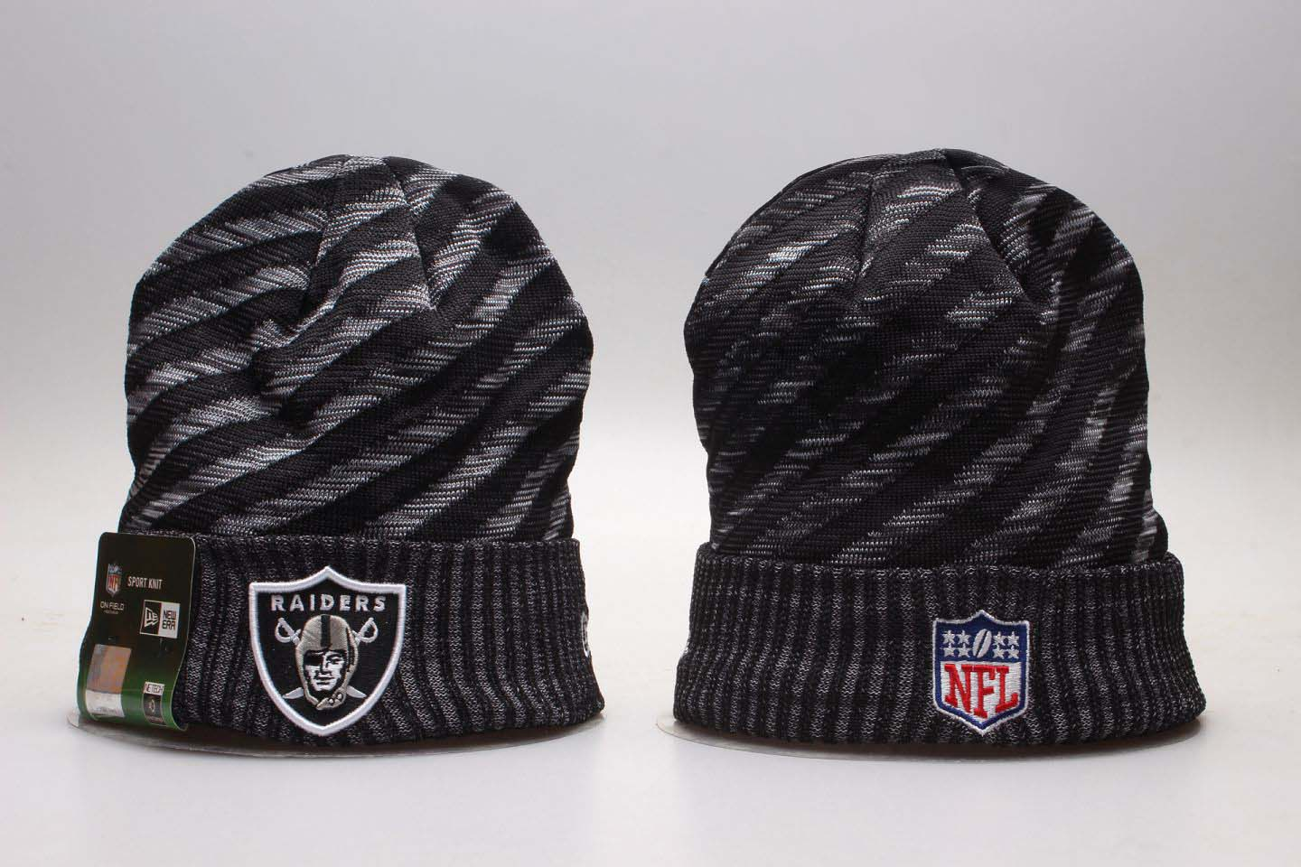 Raiders Team Logo Stripe Cuffed Knit Hat YP
