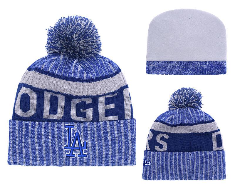 Dodgers Team Logo Royal Cuffed Knit Hat With Pom YD