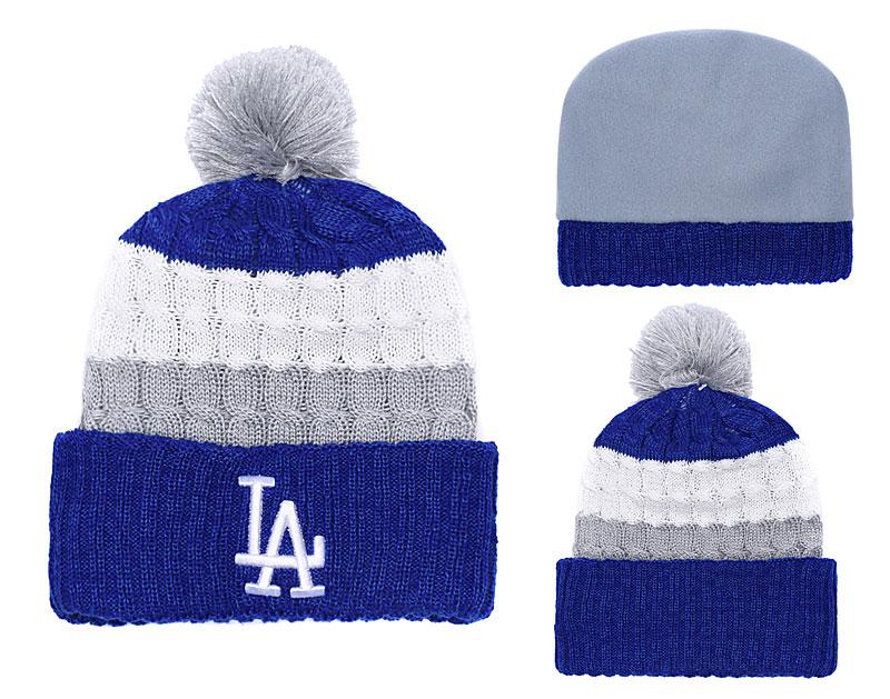 Dodgers Team Logo Royal Gray Cuffed Pom Knit Hat YD