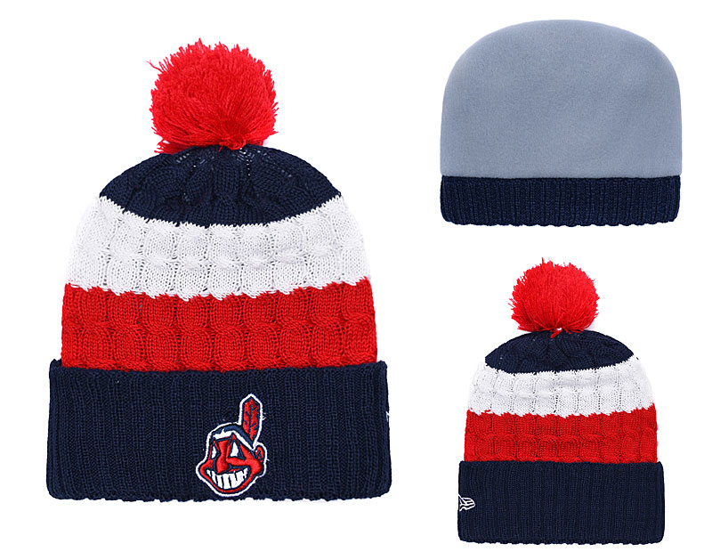 Indians Team Logo Navy Red Cuffed Knit Hat With Pom YD