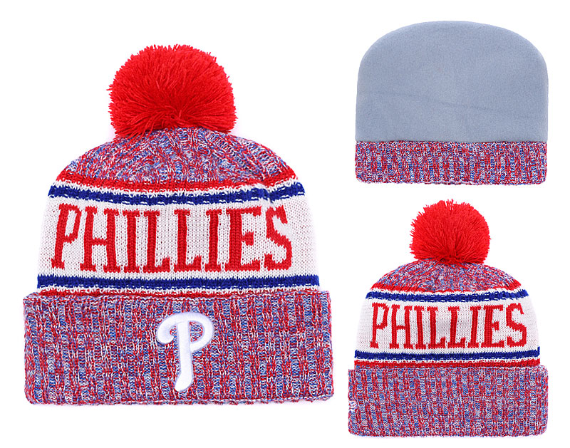 Phillies Team Logo Red Cuffed Knit Hat With Pom YD