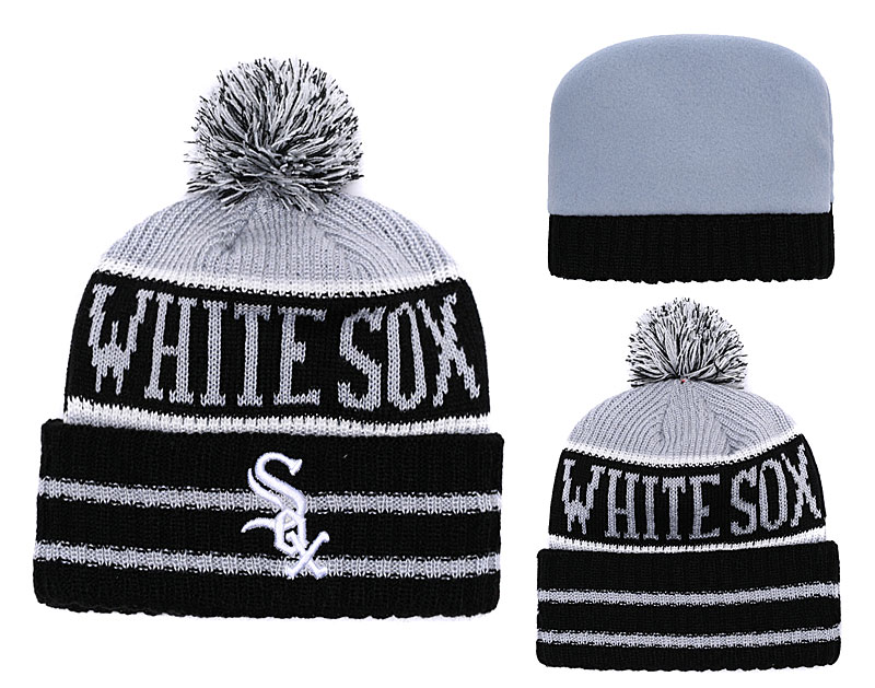 White Sox Team Logo Black Gray Cuffed Knit Hat With Pom YD