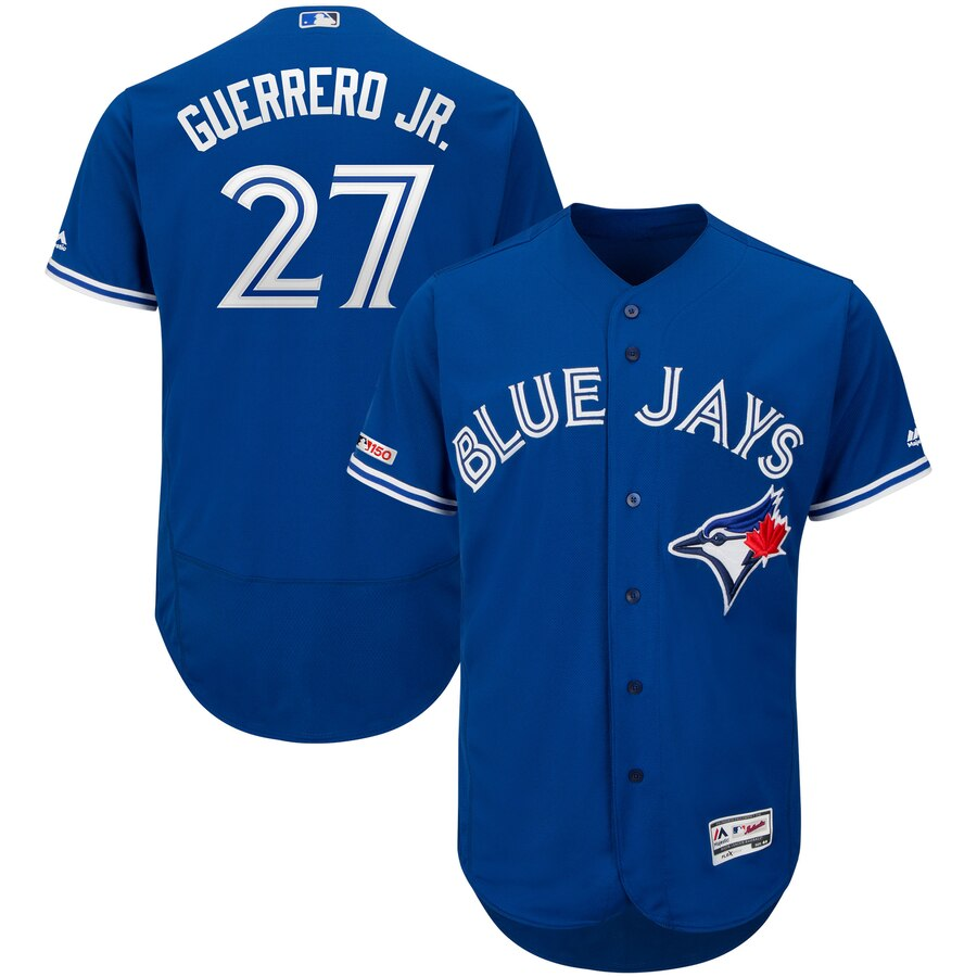 Blue Jays 27 Vladimir Guerrero Jr. Royal 150th Patch Flexbase Jersey