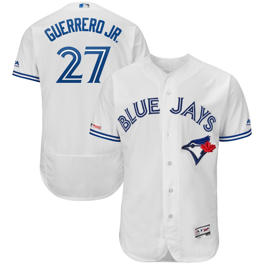 Blue Jays 27 Vladimir Guerrero Jr. White 150th Patch Flexbase Jersey