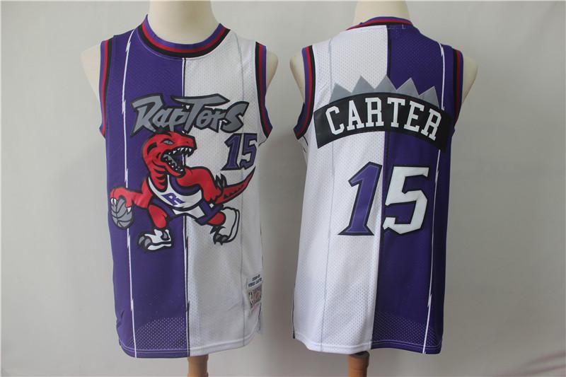 Raptors 15 Vince Carter Purple White Split 1998-99 Hardwood Classics Jersey