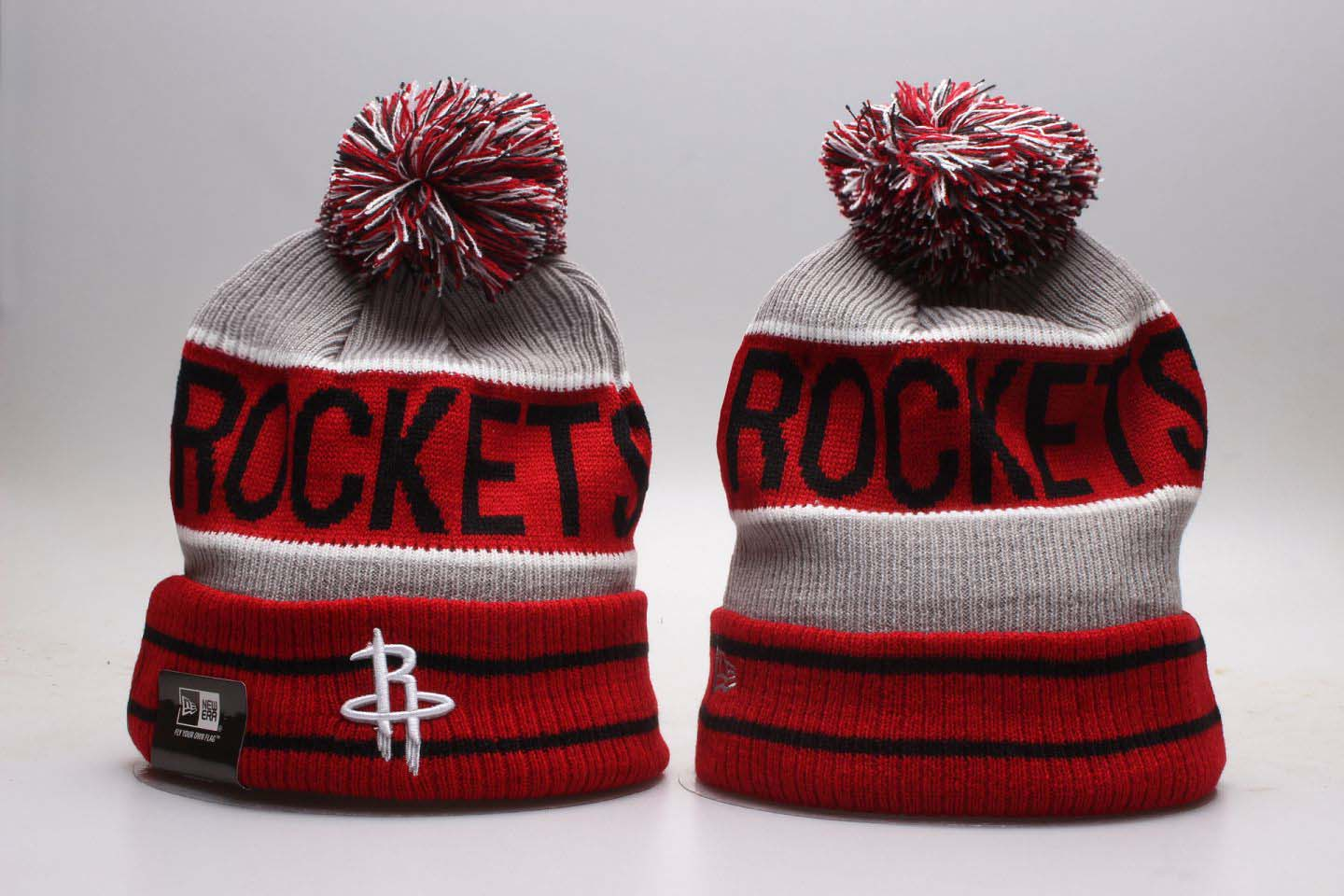 Rockets Red Banner Block Cuffed Pom Knit Hat YP
