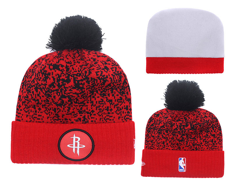 Rockets Team Logo Red With Pom Knit Hat YD