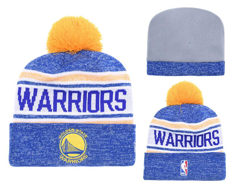 Warriors Fresh Logo Royal White Pom Knit Hats YD