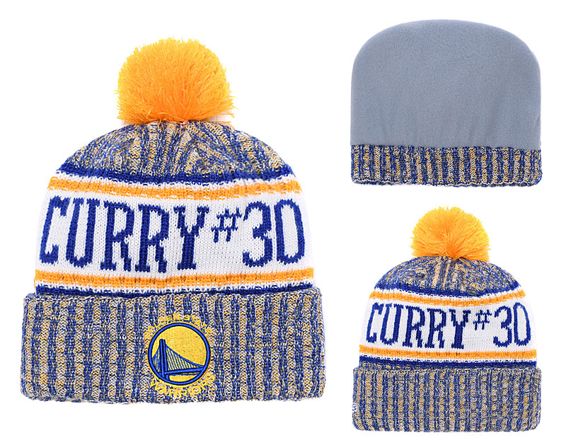 Warriors Fresh Logo Royal Yellow Knit Hat YD