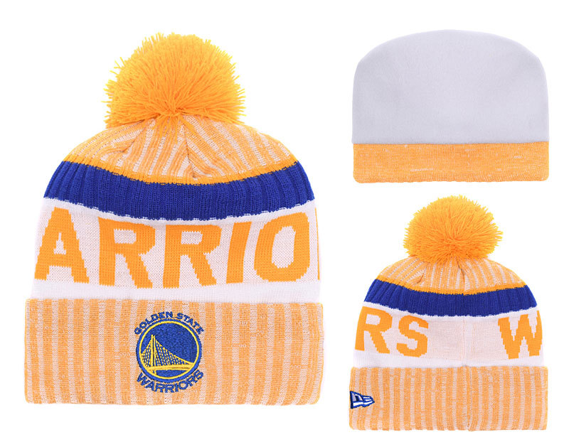 Warriors Fresh Logo Yellow Pom Knit Hat YD